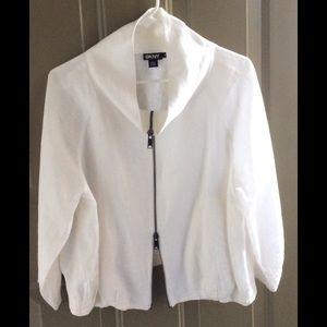 DKNY 3/4 Sleeve White Linen Jacket.